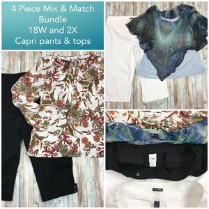 4 Pc Lot 2X Tops 18W Capri Pants Spring Outfits